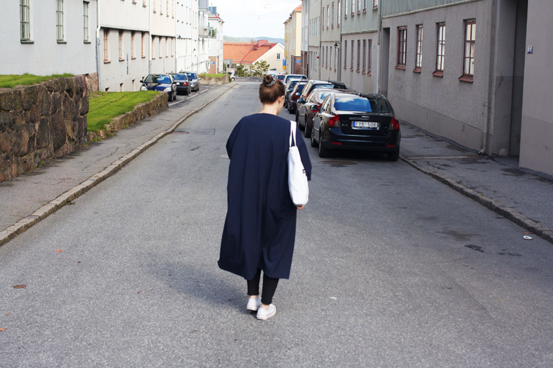 "rougeimaginaire: ""Long, long, long"" - an outfit with a long duster coat from Monki, white Converse, white tote bag."