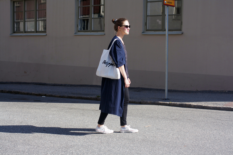 "rougeimaginaire: ""Long, long, long"" - an outfit with a striped T-shirt from Monki, a long duster coat from Monki, black skinny jeans from Topshop, white Converse and a white tote bag from Filippa K."