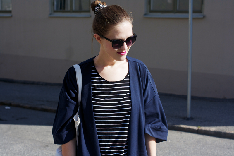 "rougeimaginaire: ""Long, long, long"" - an outfit with a striped T-shirt from Monki, a long duster coat from Monki, sunglasses."