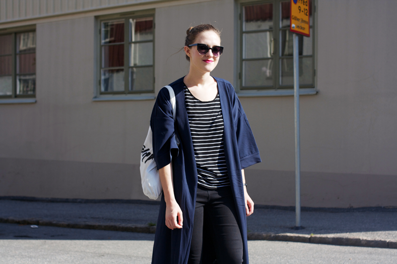 "rougeimaginaire: ""Long, long, long"" - an outfit with a striped T-shirt from Monki, a long duster coat from Monki, sunglasses and a white tote bag from Filippa K."