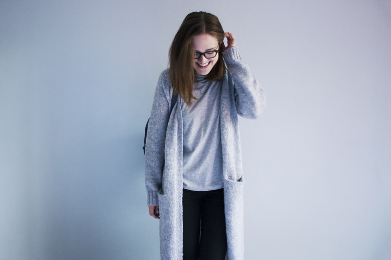 "rougeimaginaire: ""Greytones"" - an outfit with a grey T-shirt from Weekday, a long cardigan from Monki and black skinny jeans from Topshop."