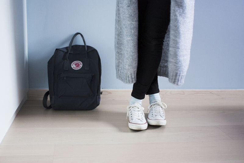 "rougeimaginaire: ""Greytones"" - graphite backpack from Fjällräven Kånken, long grey cardigan from Monki, white Converse."