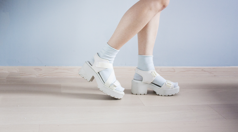 "rougeimaginaire: ""GIRLY"" - mint green socks, white platform sandals from Vagabond (Dioon)."