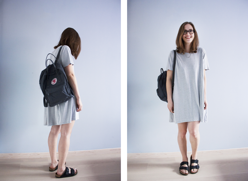 "rougeimaginaire: ""T-shirt Dress"" - an outfit with a grey T-shirt dress from Weekday, a graphite backpack from Fjällräven Kånken and black Birkenstocks (Arizona)."