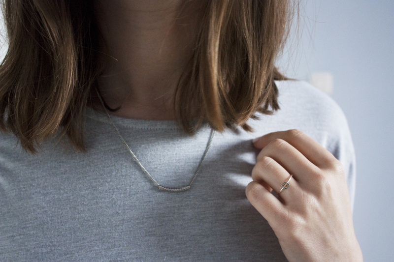 "rougeimaginaire: ""T-shirt Dress"" - delicate silver necklace and ring."