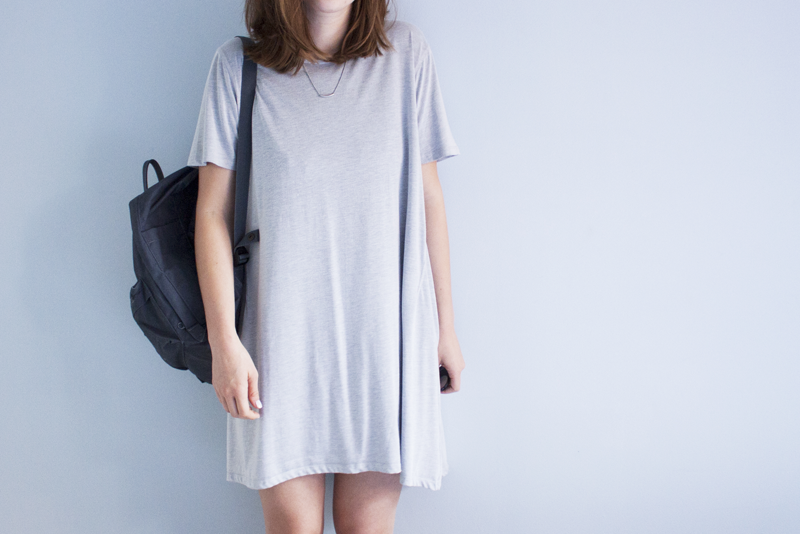 "rougeimaginaire: ""T-shirt Dress"" - an outfit with a grey T-shirt dress from Weekday and a graphite backpack from Fjällräven Kånken."