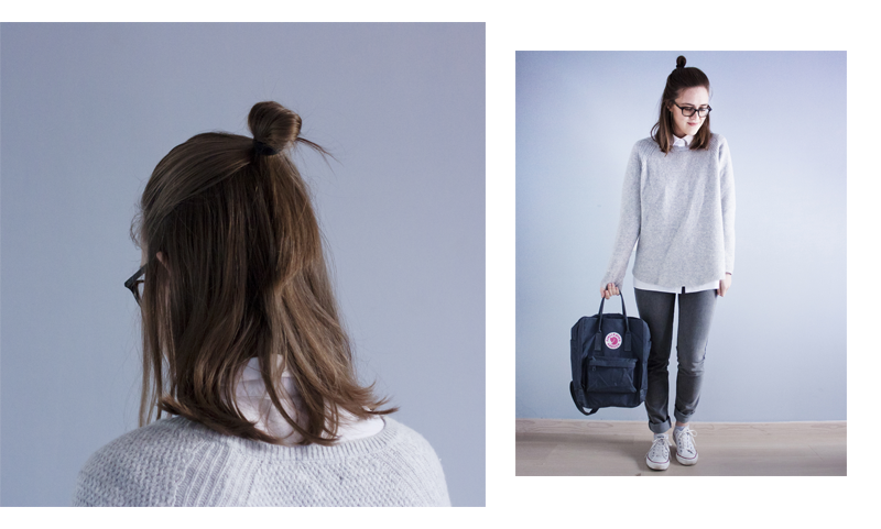 """rougeimaginaire: """"ÖVER MIN DÖDA KROPP"""" - an all-grey outfit with a knit sweater from Zara, a white button-up shirt from COS, skinny jeans from Cheap Monday, a graphite backpack from Fjällräven Kånken and white Converse."""