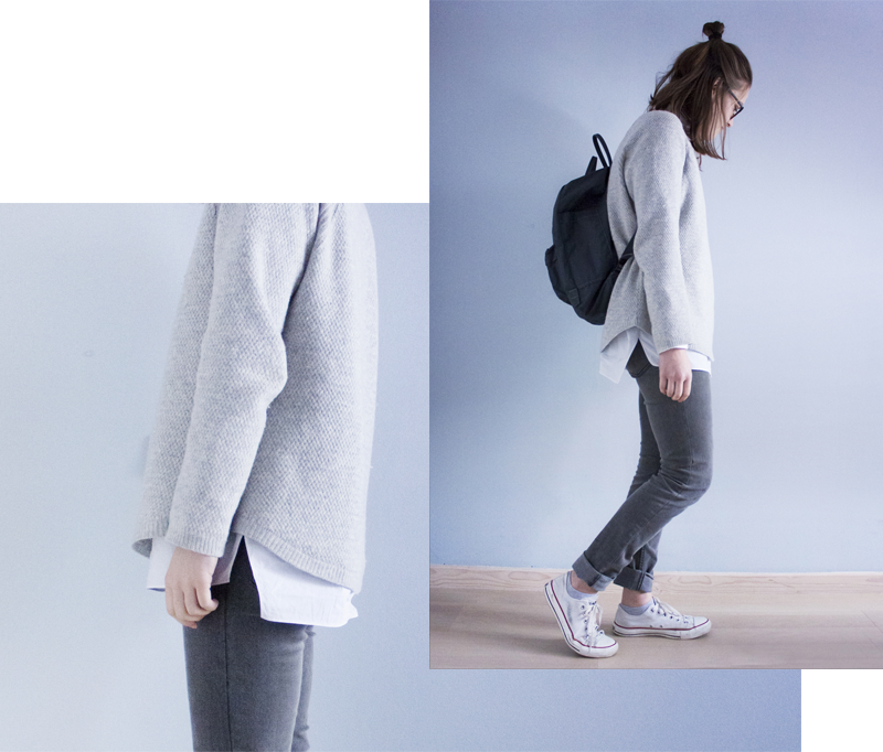 "rougeimaginaire: ""ÖVER MIN DÖDA KROPP"" - an all-grey outfit with a knit sweater from Zara, a white button-up shirt from COS, skinny jeans from Cheap Monday, a graphite backpack from Fjällräven Kånken and white Converse."