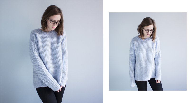 "rougeimaginaire: ""Cosy Sunday"" - an outfit with a blue knit sweater from Zara and black skinny jeans from Topshop."